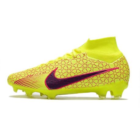 2015 Hommes Chaussures Nike Mercurial Superfly IV FG Cuir Jaune Volt Noir